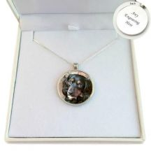 Pet Loss Round Photo Necklace, Sterling Silver Chain